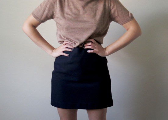 Mini skirt and Tan Sweater Combo