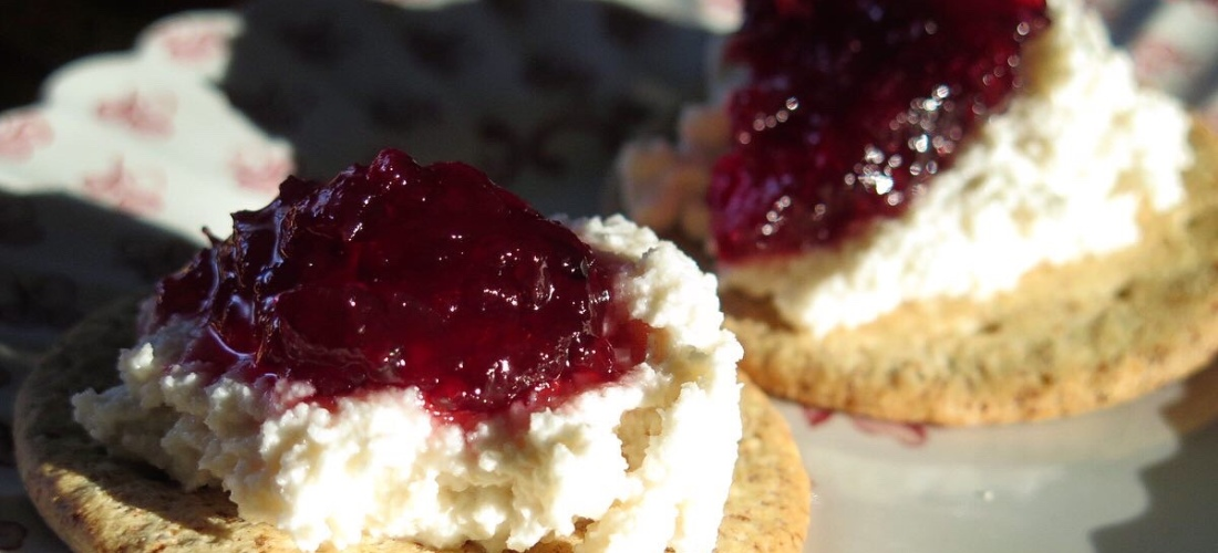 Vegan Ricotta with Cherry Preserves
